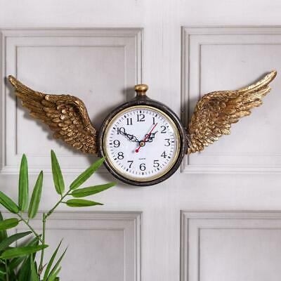Gold Angel Wings Wall Clock Wood Glass Antique Brown Gold Rustic Chic Home Decor
