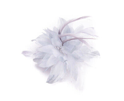 Grey Feather Comb Fascinator Wedding Races Proms Bridal Hair Accessory 3