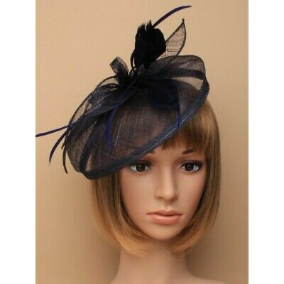 Navy Blue Headband Aliceband Hat Fascinator Weddings Ladies Day Race Royal Ascot