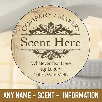 Personalised Soy Wax Melt Candle Homemade 100% Soya Business Stickers Label 1041