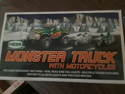 2007 Hess Monster Truck With 2 Motorcycles Brnd New In Box