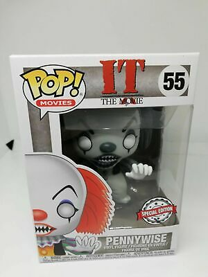 IT Figurine PENNYWISE N° 55 BLACK & WHITE EXCLUSIVE  FUNKO POP HORROR