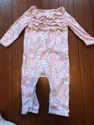 c35b27ddbe9a Burt s Bees Baby girl One Piece romper Outfit Pink Floral Ruffle Euc 6-9  Months