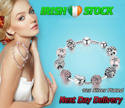 Silver Charm Bracelet Bangle With Love & Flower Jewelry Girls And Women