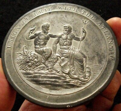 """1826 New York Historical Erie Canal Medal RARE Very Large 3"""" Issue"""