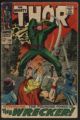 THOR #148 JAN 1968. 1st APPEARANCE OF THE WRECKER. NICE PAGES