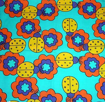 Lady Bugs Flower Power Turquoise Purple Yellow Orange Fabric BTY OOP Med Wgt