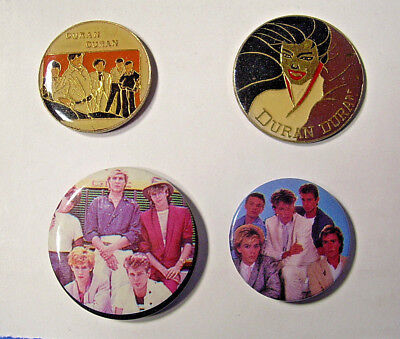 DURAN DURAN - 2 Vintage Enamel Pins & 2 Vintage Buttons from the 80's