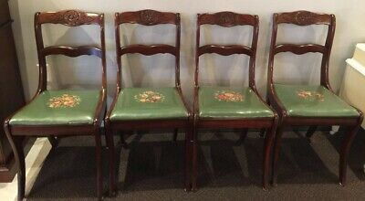 Set of 4 Antique Dining Accent Chairs Carved Flower Needlepoint Seats
