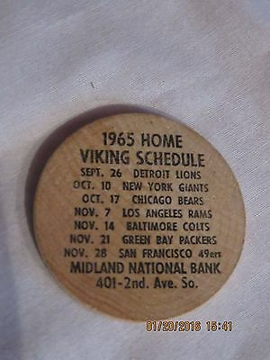 1965 MN Vikings & MN Gophers Wooden Nickel With Game Schedules