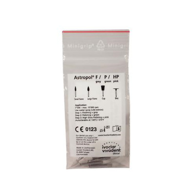 Vivadent 557615 Ivoclar Astropol F Dental Finishers Small Flame Points Gray 6/Pk