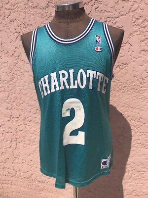Vintage Champion CHARLOTTE HORNETS  2 Larry Johnson Basketball Jersey Size  44 56a6600ba