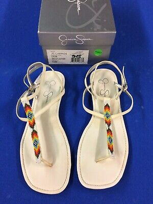 7601c6ef0a8a Cream JESSICA SIMPSON Slingback Thong Casual Sandals w  Bead Accent - Size  10