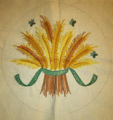 "Bucilla #2632 'Harvest Wheat' Completed Crewel Embroidery 14"" Box Pillow Cover"