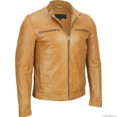 MENS Brown BIKER TOP GRADED REAL LEATHER JACKET MOTORCYCLE PREMIUM QUALITY XXL