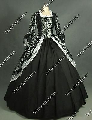 Victorian Silver Christmas Fairytale Brocade Dress Theater Cosplay Ball Gown 164