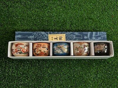 5 Japanese Sake Cups in lovely Orange, Black, Blue, Ivory, Beige - Made in Japan