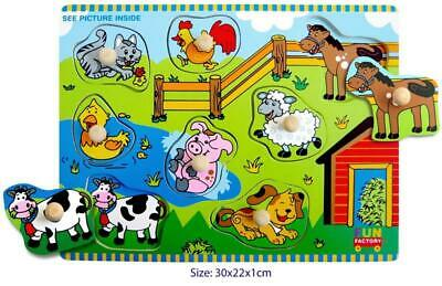 NEW Fun Factory Educational Wooden Peg Puzzle Farm House & Animals