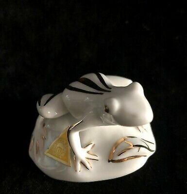 Royal Dux Bohemia TREE FROG PAPERWEIGHT Trimmed in Gold - Free Shipping!