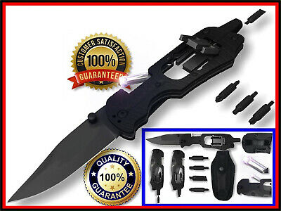 LED Multi Tool Pocket Knife Black Tactical Blade with Screw Driver and Holster