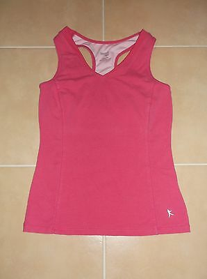 aa04b670c Womens Danskin Now Athletic Racerback Tank Top Yoga Pink Built- In Shelf Bra  Xs