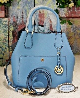 46de12311b6d NWT Michael Kors GREENWICH Large GRAB BAG Saffiano Leather In SKY BLUE  398