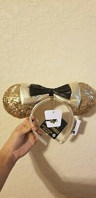 Disney Parks Mickey Mouse 90th Anniversary Minnie Gold Sequin Ears Headband NEW