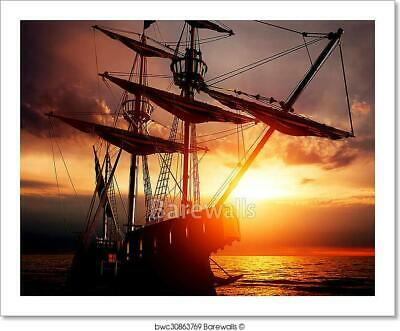 Old Ancient Pirate Ship On Peaceful Art Print Home Decor Wall Art Poster - D
