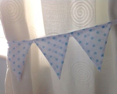 Bunting Curtain Nursery Tie Backs Baby Pale Blue White