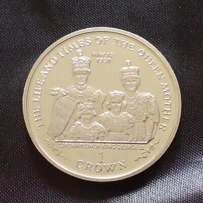 2000 Isle of Man 1 Crown coin Life Times Queen Mother KGVI Coronation