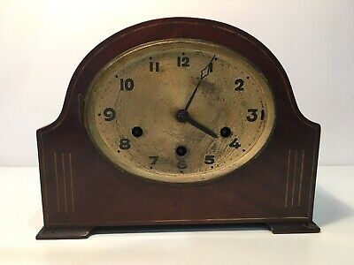 Vintage Art Deco 30/40s German Domed Mahogany Mantle Clock For Spares/Repairs