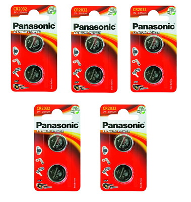 10 Pile batterie PANASONIC 2032 CR2032 DL2032 BR2032 3V LITIO SPEDIZ. TRACCIATA