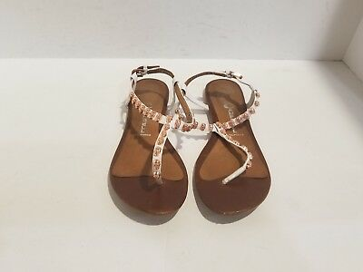 f53cfaf9b7992 Jeffrey Campbell Womens White Leather Ankle Strap Flip Flop Sandals Size  8.5 M