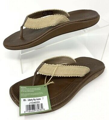 0537fa1a46ba Chaco Womens Brown Beige Leather Liberty Flip Flop Thong Sandals Size 7
