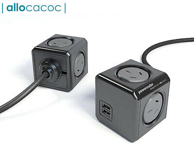 Allocacoc 4-Outlet 1.5m Extended PowerCube w/ USB - Black