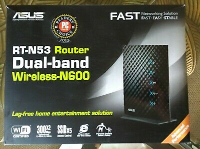 ASUS RT-N53 4-PORT Dual-Band Wireless-N600 Router (Black) New in