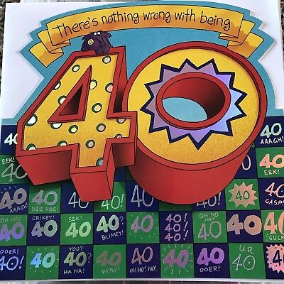 Ladies 40th Birthday Card Forty Today Age 40 Ex Large Funny