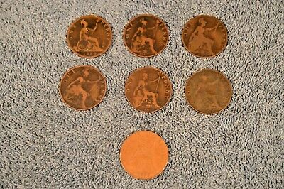 Great Britain Large  'One Penny' Coins – Lot of 7