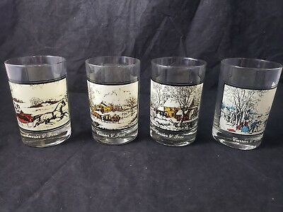 CURRIER AND IVES Arbys collectors Tumblers Glasses 1978 Complete Set of 4 VG