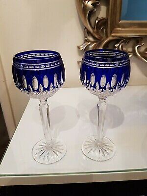 WATERFORD CRYSTAL CLARENDON COBALT BLUE HOCK GLASSES x2 NEW UNUSED No Box