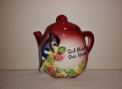Vintage God Bless Our Home Ceramic Teapot Wall Pocket Blue Jay Flowers Japan