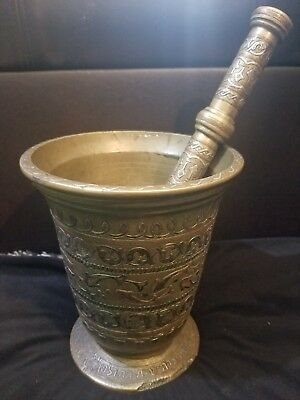 LARGE Antique Solid Bronze Mortar and Pestle Hebrew Inscriptions DETAILED 18lbs