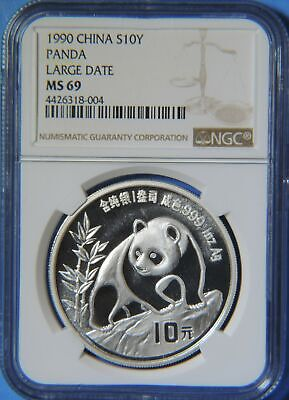 1990 Large Date China Silver Panda 10 Yuan Coin 1oz .999 NGC Graded MS69