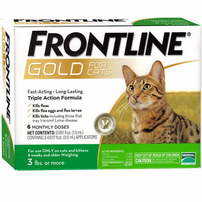 Frontline Gold For Cats And Kittens Over 3 Lbs 6 Doses Plus  Free Shipping !!!