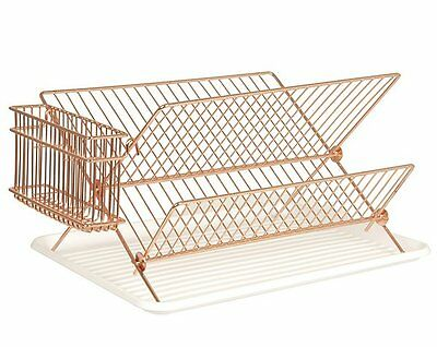 Present Time WIRE DISH RACK COPPER Dish Drainer with Tray