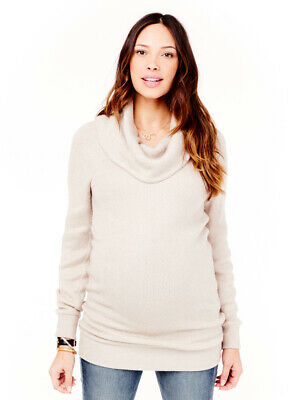 Ingrid & Isabel Maternity Cowl Neck Sweater, Long Sleeve Small 4 6 Oatmeal / Tan