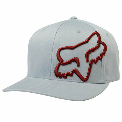 Fox Racing Men's Clouded Flexfit Hat Gray Red Headwear Baseball Cap