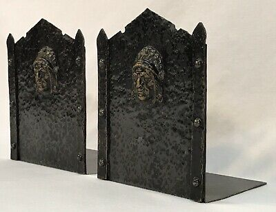Antique Arts & Crafts Hand Hammered Wrought Iron Native American Chief Bookends