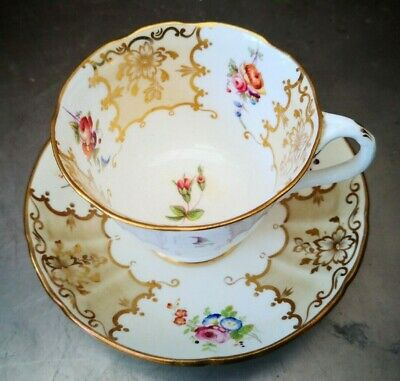 Rare Antique Coalport Floral And Bat Wing Elegant Cup And Saucer 1880S 1890S