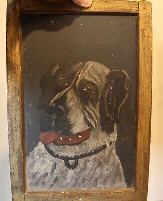 Antique Early FOLK ART DOG Painting on Old School Slate Signed? WM Primitive